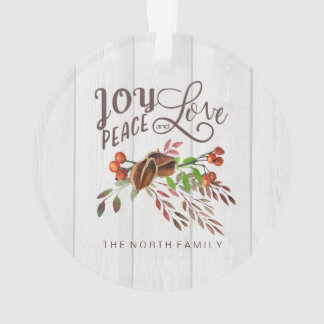 Joy, Peace Love Christmas Swag ID438 Ornament