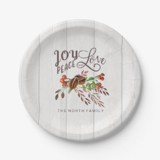 Joy, Peace Love Christmas Swag ID438 Paper Plate