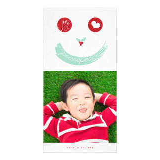 Joy Peace Love Cute Smiley Face Holiday Photo Card