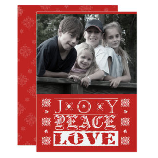 Joy, Peace, Love Holiday Photo Card in Red