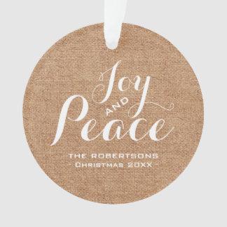 Joy & Peace - Rustic Burlap Christmas Greeting