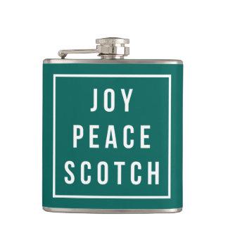 Joy Peace Scotch   Green & White Funny Holiday Hip Flask