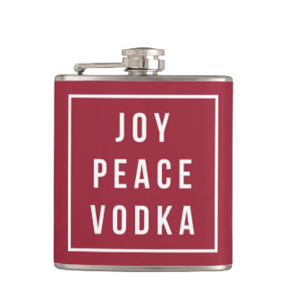 Joy Peace Vodka   Red & White Funny Holiday Hip Flask