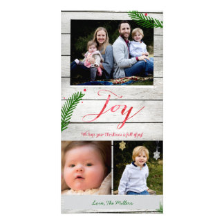 Joy Pine Branches Photo Card Template