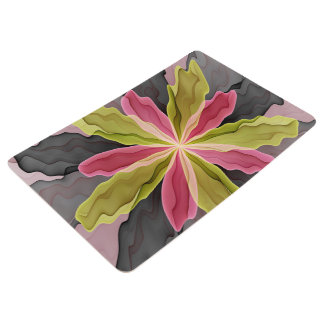 Joy, Pink Green Anthracite Fantasy Flower Fractal Floor Mat