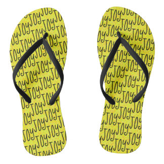 JOY Positive Word Pattern Design Yellow Thongs