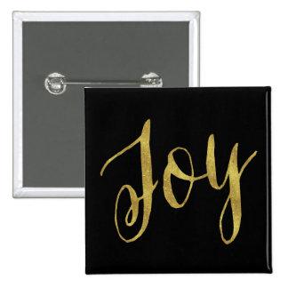 Joy Quote Faux Gold Foil Glitter Background 15 Cm Square Badge