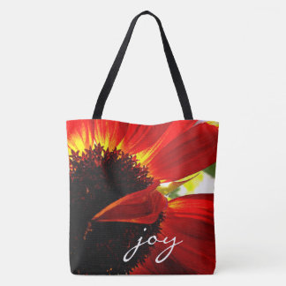 """Joy"" quote giant red orange daisy close-up photo Tote Bag"