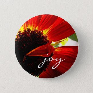 """Joy"" quote red orange daisy close-up photo button"