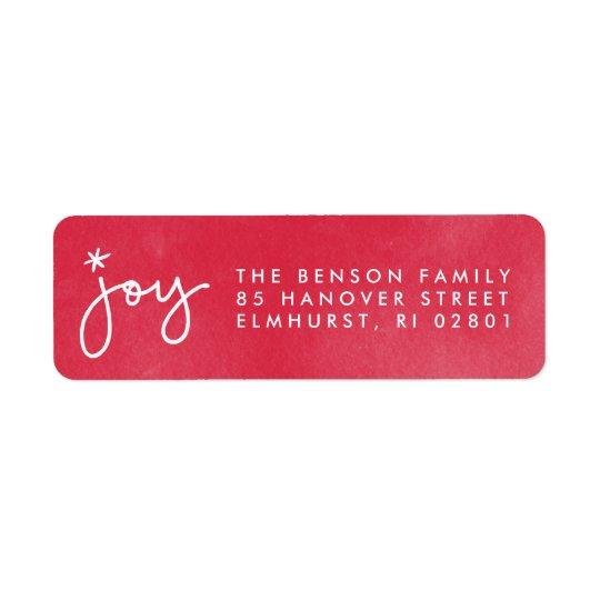 Joy Red Watercolor Return Address Label