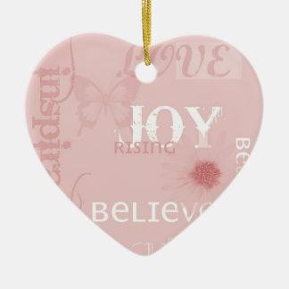 Joy Rising Pink Ceramic Heart Decoration