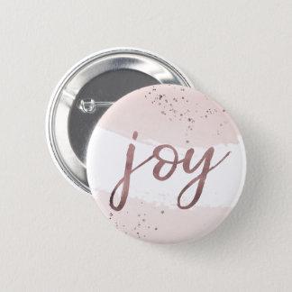 Joy | Rose Gold Christmas 6 Cm Round Badge