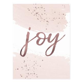 Joy | Rose Gold Christmas Postcard