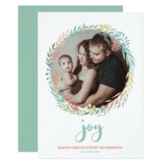 Joy - Rustic Minty Watercolor Wreath Holiday Photo Card