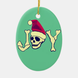 Joy - Santa SKull Ceramic Oval Decoration