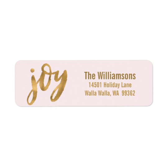 Joy Script Gold and Pink Custom Christmas Return Address Label