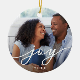 Joy Script | Photo Ceramic Ornament