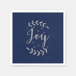 JOY Silver Blue Botanical Leaf Modern Holiday Disposable Napkin