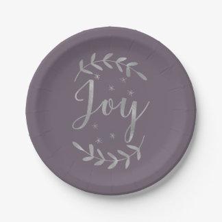JOY Silver Botanical Leaf Modern Holiday ANY COLOR Paper Plate