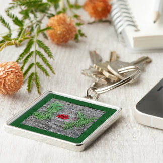 Joy Silver-Colored Square Key Ring