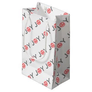 Joy - smiley - strips - black and red. small gift bag