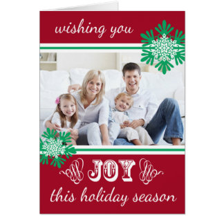 JOY Snowflake Accent Folded Holiday Greeting Card