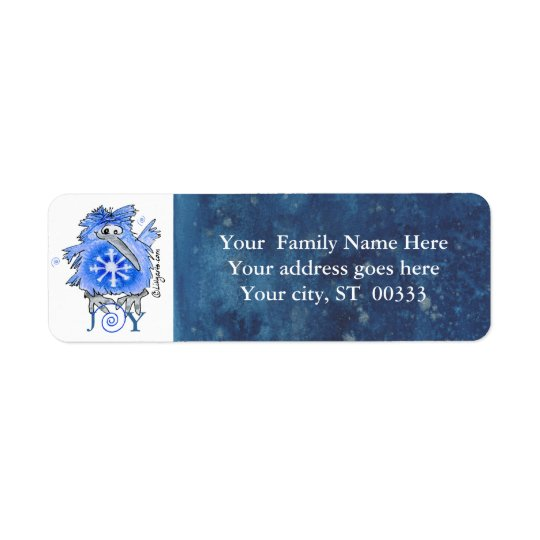 Joy Snowflake Kiwi Bird Blue Address Label