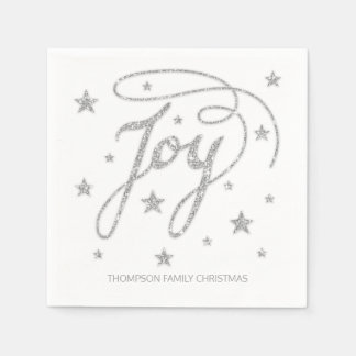 JOY Text Faux Silver Glitter Look & Custom Title Paper Napkin