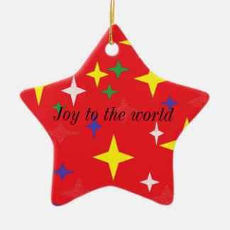 Joy to the world ceramic star decoration