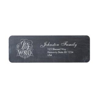 Joy to the World Chalkboard Christmas Calligraphy Return Address Label