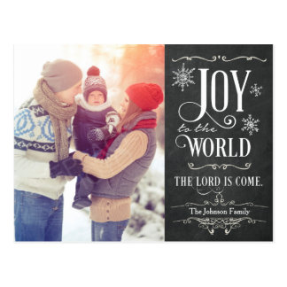 Joy to the World Chalkboard Christmas Postcard