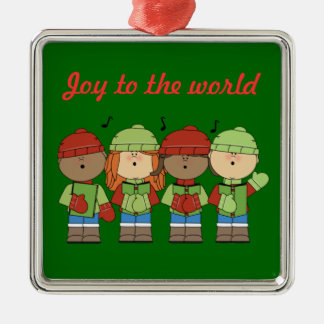 Joy To The World Children Silver-Colored Square Decoration