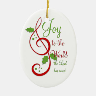 Joy to the World Christian Christmas Carol Music Ceramic Ornament