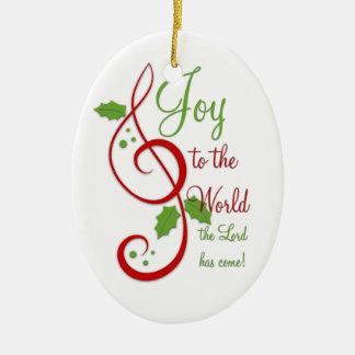 Joy to the World Christian Christmas Carol Music Ceramic Oval Decoration