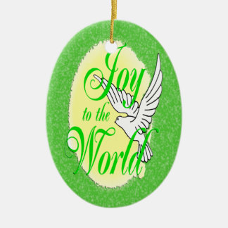 Joy to the World Christmas Ornament Oval
