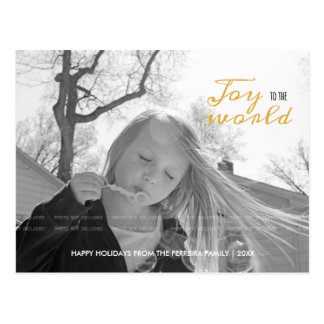Joy to the World Christmas Photo Modern Holiday Postcard