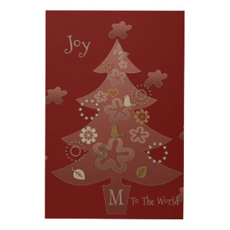 Joy To The World Christmas Tree Add Text Add Photo Wood Wall Art