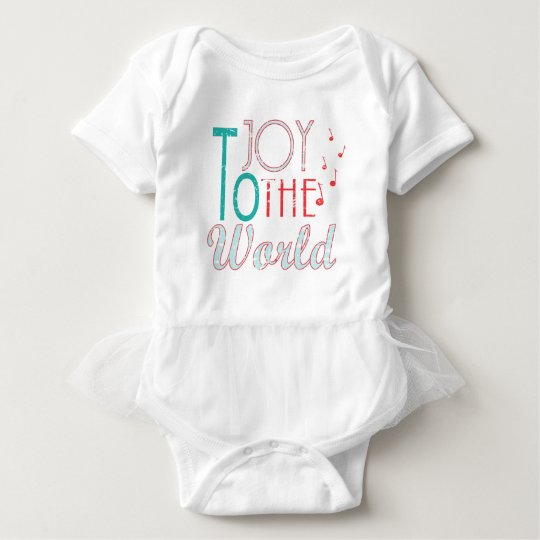 Joy to The World Christmas Typography Music Notes Baby Bodysuit