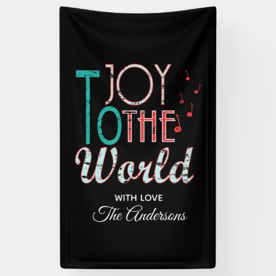 Joy to The World Christmas Typography Music Notes Banner