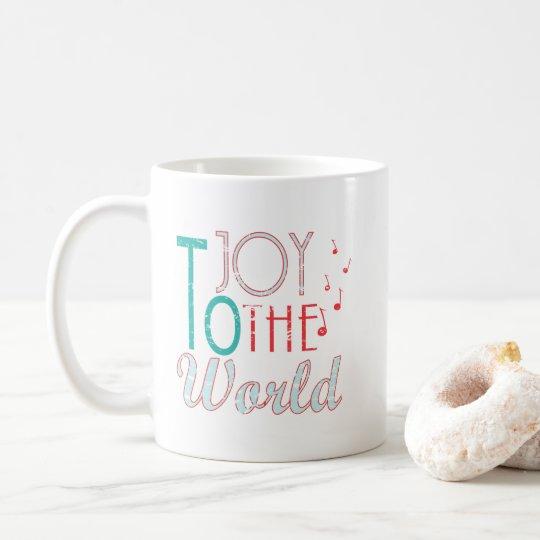 Joy to The World Christmas Typography Music Notes Coffee Mug