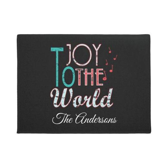 Joy to The World Christmas Typography Music Notes Doormat