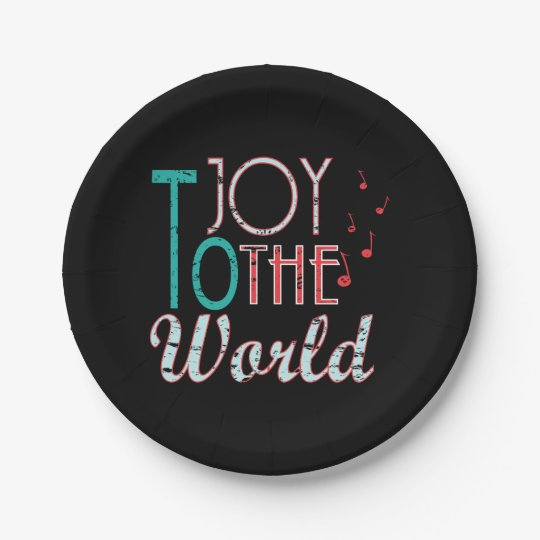Joy to The World Christmas Typography Music Notes Paper Plate