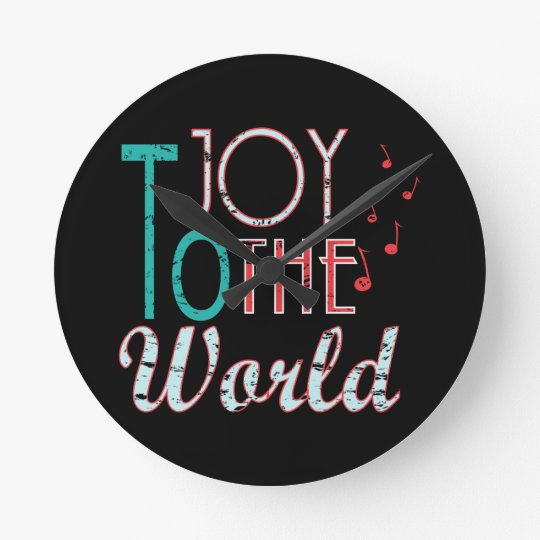 Joy to The World Christmas Typography Music Notes Round Clock