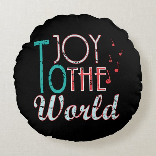 Joy to The World Christmas Typography Music Notes Round Cushion