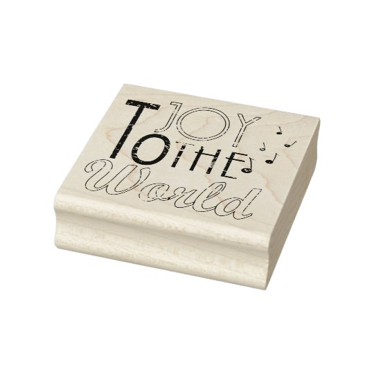 Joy to The World Christmas Typography Music Notes Rubber Stamp