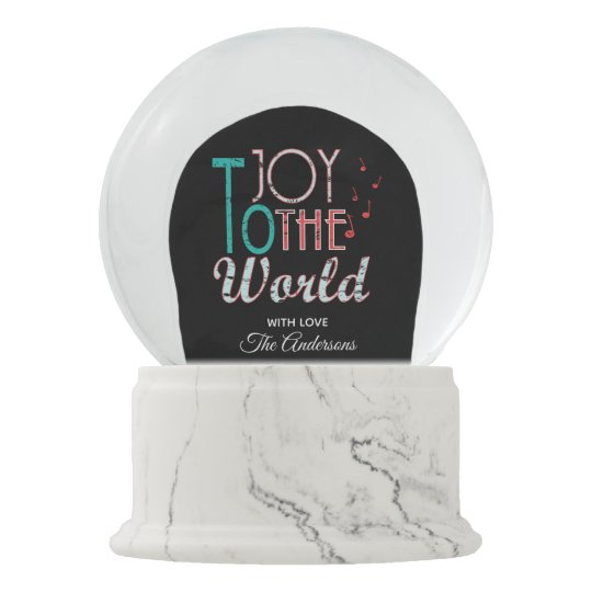 Joy to The World Christmas Typography Music Notes Snow Globe