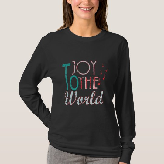 Joy to The World Christmas Typography Music Notes T-Shirt