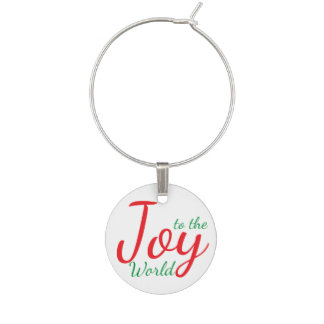 Joy to the World Christmas Wine Charm