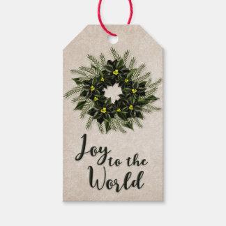 Joy to the World | Dark Green Poinsettia Wreath Gift Tags