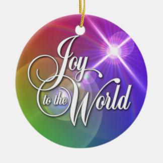 Joy to the World Round Ceramic Decoration